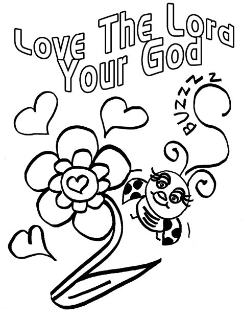 love coloring pages for sunday school childrens gems in my treasure box love bug for jesus