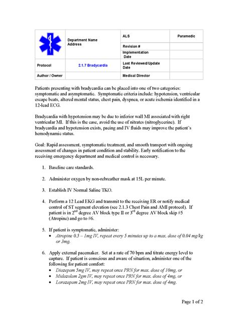 emergency protocol template sop center ems template