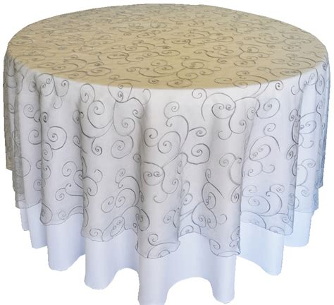 silver round embroidered swirl organza table overlays 108 quot