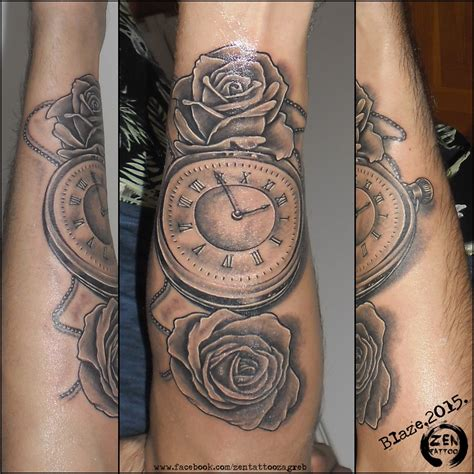 clock tattoos with roses roses with clock by blaze www