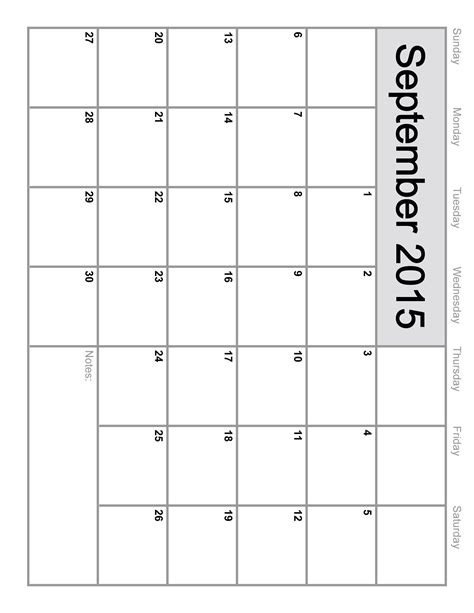 2015 monthly calendar template printable september 2015 calendar printable template 8 templates