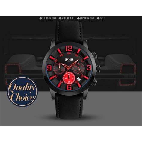 Jam Tangan Pria Skmei Original Tali Terbuat Dari Kulit Anti Air skmei jam tangan analog pria 9147cl brown blue skmei