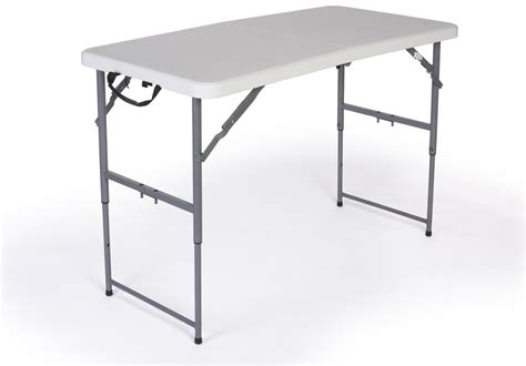 Folding Table Adjustable Height Folding Table With Adjustable Height 4 Foot With Locking Legs
