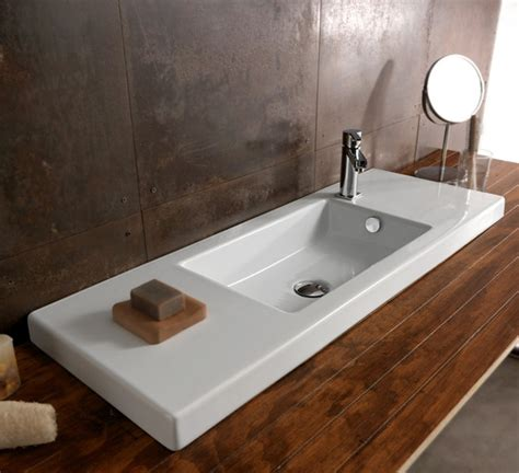 wide modern ceramic wall mounted vessel or built in sink