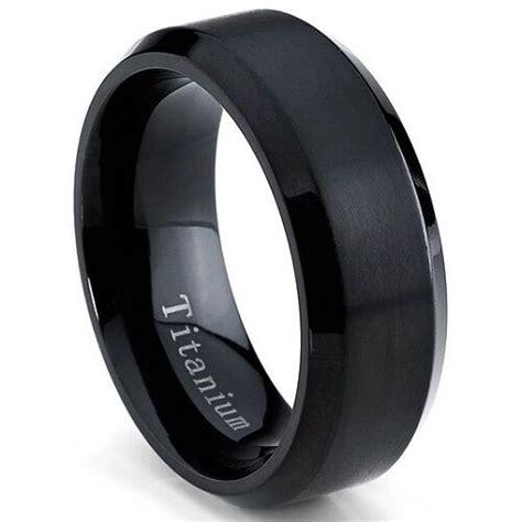 black titanium ring men s brushed wedding band comfort