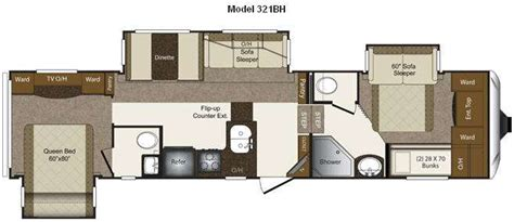 Two Bedroom Fifth Wheel Rv by Bunkhouse 5th Wheel Floor Plans Meze