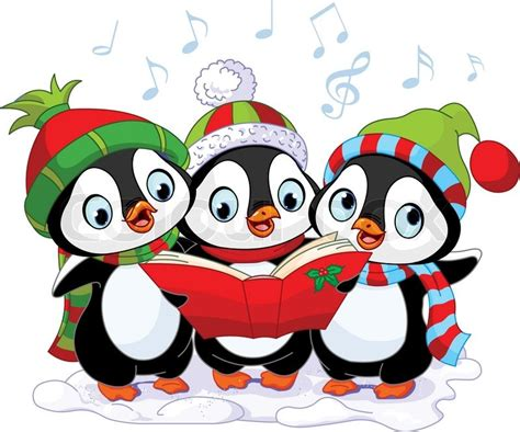 images of christmas penguins three cute christmas carolers penguins stock vector