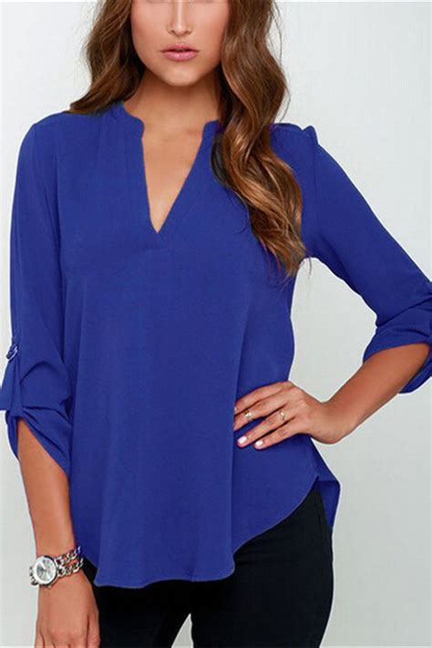 Chiffon Crop Top Royal Blue Size S Belakang Karet stylish royal blue v neck fitting chiffon blouse