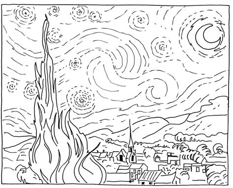 Sponge Painting Van Gogh Starry Night In The Playroom Starry Coloring Page