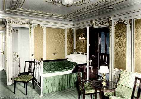 titanic 1st class bedrooms colourised images show the luxury aboard the titanic