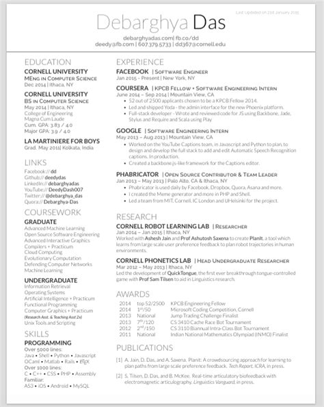 Resume Template Github by Github Deedy Deedy Resume A One Page Two Asymmetric