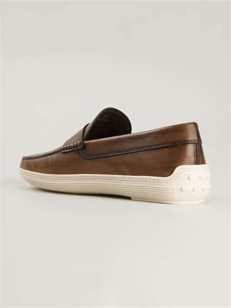 rubber soled loafers tod s rubber sole loafers in brown for lyst