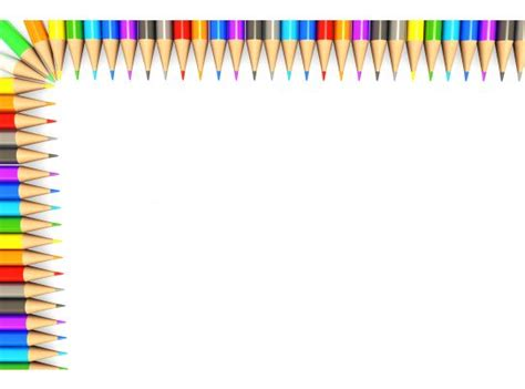 white background   colorful pencils border stock
