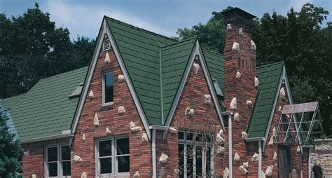 metalworks steel shingles  astonwood forest green