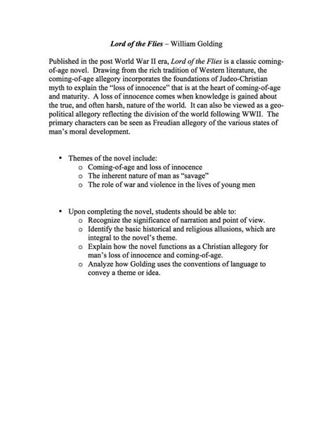 Lord Of The Flies Essay Question by Lord Of The Flies Essay Questions