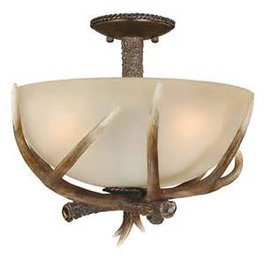 antler ceiling light fixtures cast antler semi flush ceiling light 16 inch