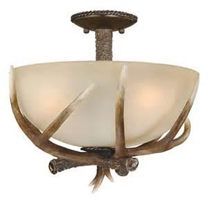 Cast antler semi flush ceiling light 16 inch