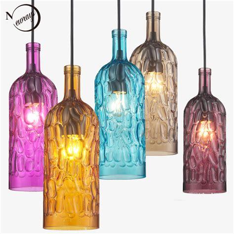Colorful Pendant Lights Loft Modern Colorful Winebottle Glass Pendant Lights Cord E27 Led L Ac 110v 220v For Kitchen