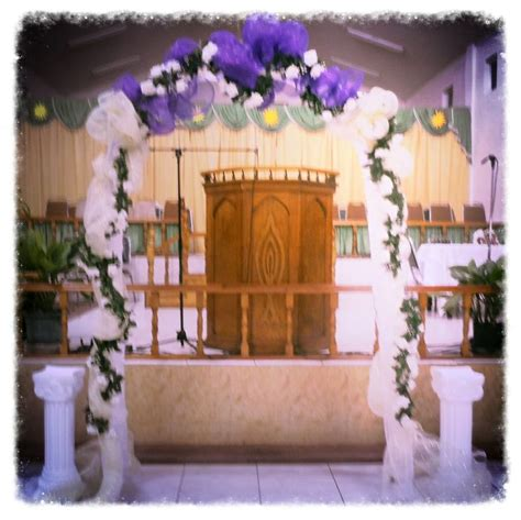 Wedding Arch Already Decorated by Wedding Arch Decorated With Deco Mesh And Flowers