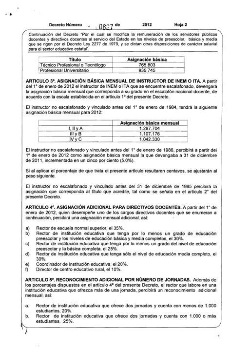 salarios decreto 2277 magisterio hora extra docentes 2277 decreto de salario 2012 del 2277