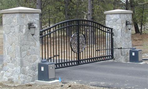 stone pillars and metal gate gate entry automatic ornamental double drive gate with stone