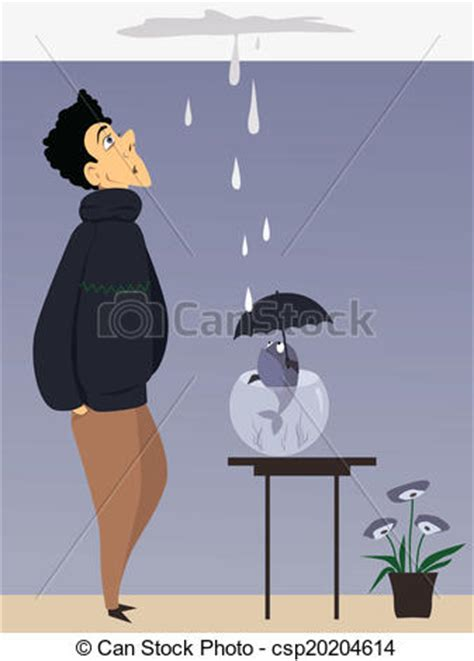 leaking ceiling stock images royalty free images leak in the ceiling man and a fish with umbrella looking