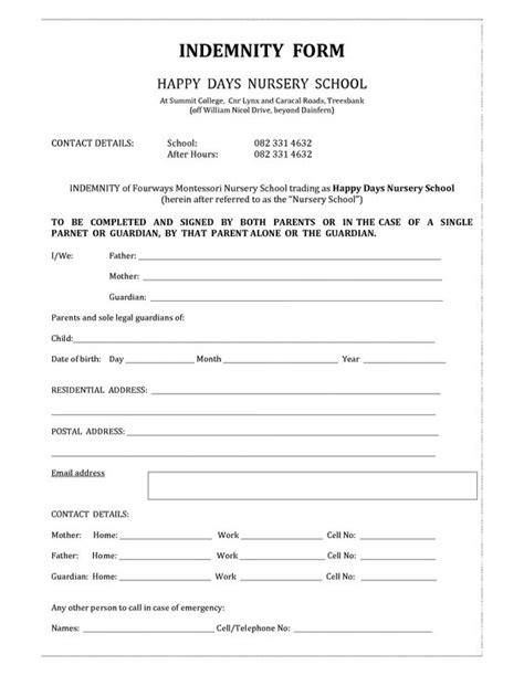 free indemnity form template indemnity form template invitation templates