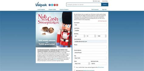 Holiday Cash Sweepstakes - valpak nuts about cash sweepstakes valpak com holiday