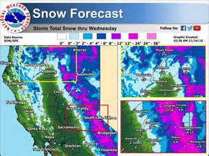 noaa s california updated snow forecast 12 24 quot of
