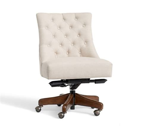 upholstered swivel desk chair tufted swivel desk chair pottery barn