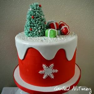 christmas cake with snow overlay grated nutmeg