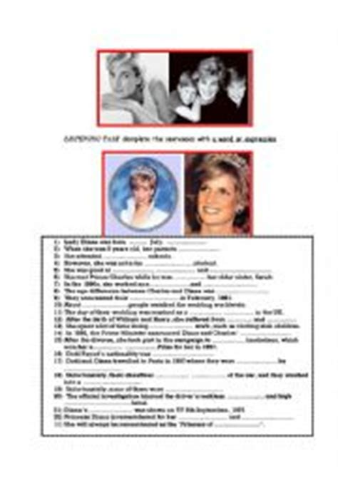 recount text biography lady diana english worksheets the life of princess diana gap fill