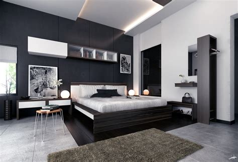white black brown modern bedroom furniture interior