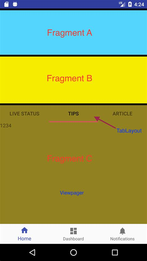 android fragment layout width android tablayout inside a fragment pin on top when