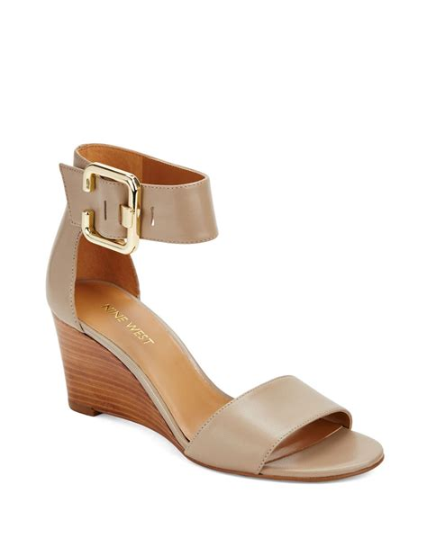 nine west sandal wedges nine west narcissus leather wedge sandals in brown beige