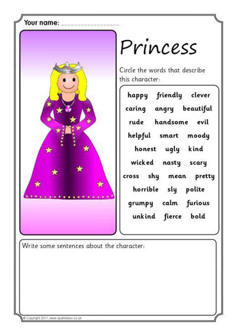 fairytale character description writing frames sb sparklebox