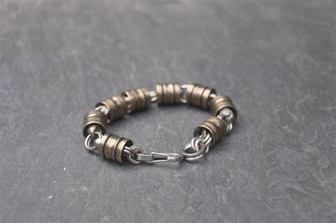 custom bronze  titanium lantern bead bracelet  ober metal works custommadecom