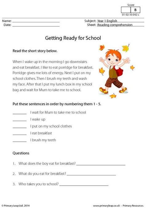 free printable reading comprehension worksheets uk primaryleap co uk reading comprehension getting ready
