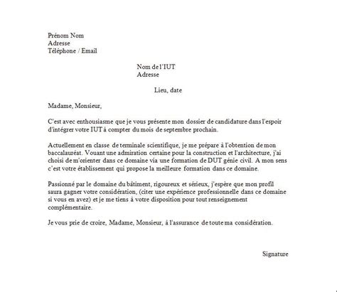 Exemple De Lettre Motivation Pour Une Formation Exemple De Lettre De Motivation Iut En G 233 Nie Civil