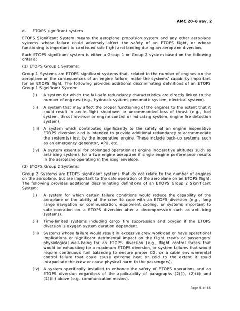 annex ii amc   rev etops certification  operation