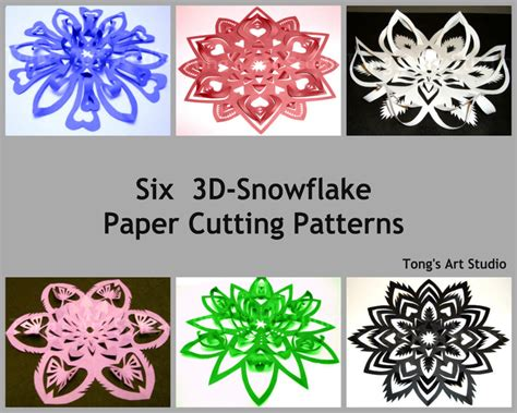 3d paper cutting templates six 3d snowflake paper cutting patterns 2 different sized