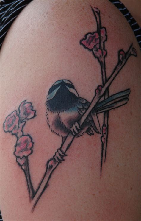 chickadee tattoo japanese inspired chickadee by thea duskin tattoos