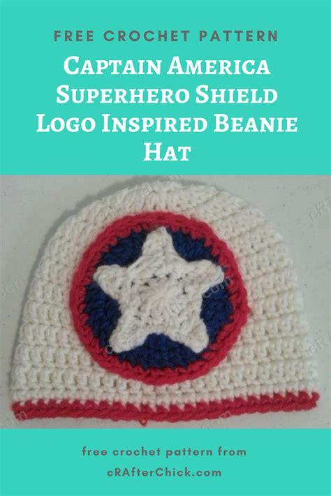 crochet pattern logos captain america superhero shield logo inspired beanie hat