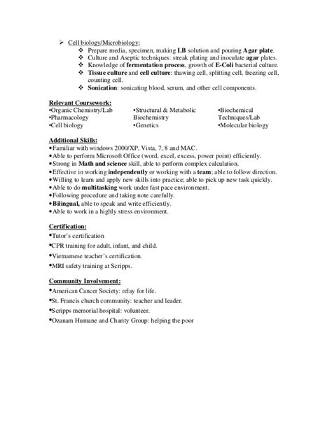 Anh Nguyen | Laboratory Technician Resume in San Diego CA
