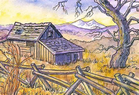 Strauss Cabin by View From Strauss Cabin Road Painting By Lisi