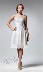 tea length sleeveless white lace bridesmaid dress dvw0065