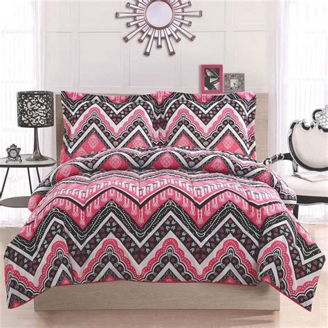 chevron bed sets girl teen kid zigzag chevron black white pink twin full