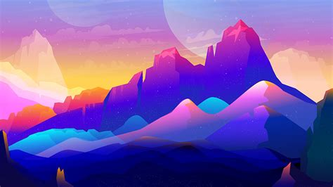 minimalistic mountains colors  wallpapers