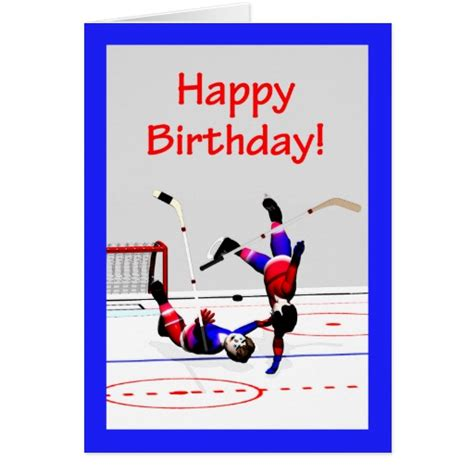 printable birthday cards hockey hockey game birthday greeting card zazzle