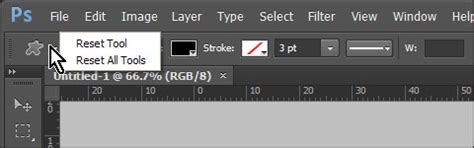 reset tool on photoshop change default options for shapes in photoshop cs6